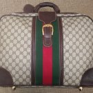 VINTAGE GUCCI SMALL SUITCASE - SIGNATURE GG CANVAS & BROWN LEATHER - GUARANTEED AUTHENTIC!