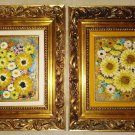 "STRIKING PAIR of 3D FLORAL OIL PAINTINGS in BEAUTIFUL ORNATE FRAMES - 16""  x  18"" OVERALL!"