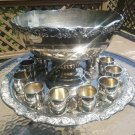Vintage Punch Bowl, Underplate Tray & 12 Cup Set in Silverplate Hollowware by International Silver!