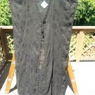 LETARTE Plus Size JET BLACK HANDMADE EMBROIDERED TUNIC, DUSTER, COVER-UP - Sz. L - NEW w/ TAGS!