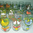 Twelve Days of Christmas Glassware Set by Indiana Glass 16 oz. Made in the USA in the 1970's!
