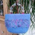 Vintage Deux Meres Handmade Blue Boiled Wool Purse Handbag with Beaded Handle Lined