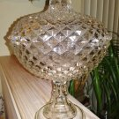 Antique Pressed Glass Compote Optic pattern with dimensional diamond design- domed lid  VERY LARGE
