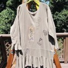 BLUE FISH 1996 SYPLH TOP/DRESS - RUFFLED BOTTOM & SLEEVES - HAND-PAINTED - ORGANIC COTTON - SIZE 2!