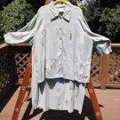 PLAY ALEGRE PLUS SIZE Linen Art To Wear Hand Painted LONG DRESS & JACKET - 3X!