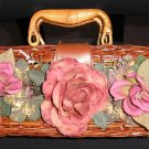 """VINTAGE DENI WICKER """"GARDEN PARTY"""" BOX STYLE PURSE with FLOWERS - PERFECT FOR A GARDEN PARTY!"""