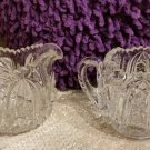 Vintage American Brilliant Cut Glass Sugar and Creamer - Whirling Star Pattern; Saw Tooth Rim!