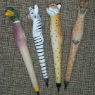 Handcrafted Wood Carved Animal Pens, Assorted 4-pack!