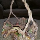 Gorgeous Fruit Embellished Ruffled Brim Wicker Basket - Such a special piece!