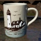 Lighthouse Beach Mug Seagull Cup Sailboat Coffee Cup Textured Stoneware by Down-East Crafts 1983!