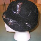 """Adorable Vintage Black Wool Hat with """"Flounce"""" brim and Iridescence Sequins!"""