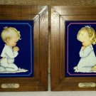 A CHILDS PRAYER & BLESS US ALL BY HUMMELWERKS - Pair of Framed Lithographs by Charlot Byj - 1970's!