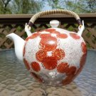 Vintage 1950's Fujita Kutani Orange Chrysanthemum Pattern Hand Painted Teapot!