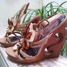 "TWO LIPS ""Accent"" Sequin Flower Wooden Cut-out Platform Sandals - Size 8  GORGEOUS!"
