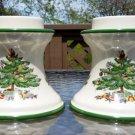 "SPODE Christmas Tree Pillar Candle Holder Set #S3324-A8 - For 2"" Pillar Candles - RARE!"