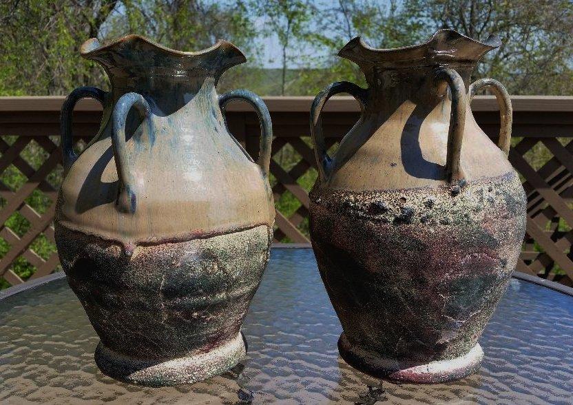 Gorgeous Pair of 4 Handled Art Pottery Vases Urns-Mottled Flambe Glaze & Ruffle Edge-OVER 5 LBS EA!