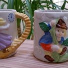 Vintage J.S.N.Y. Fairy Tale Childs Cups Mugs 3D Design - CINDERELLA & JACK & THE BEANSTALK!