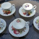 Staffordshire Collection Fine English China Tea Cups & Saucers Fruit Motif - Set of 5!
