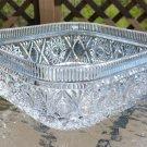 Vintage Brilliant Rectangular Cut Glass Bowl - Hobstar Pattern - HEAVY!