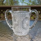 EAPG Imperial Glass Spooner Sugar Star Medallion Amelia Pattern 2 Two Handles Clear Pressed Glass!