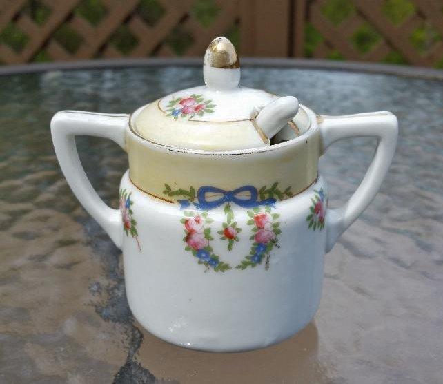 Vintage Nippon Mustard Pot Jam Jar Gold Moriage Floral Ribbon Spoon Double Handles!