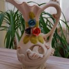 Vintage Victorian Style Dove Pitcher Bud Vase with Applied Flowers & Inset Bird in Unglazed Bisque!