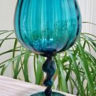Vintage Italian GIANT Optic Blown Glass Goblet Vase with Twisted Stem in TEAL - GORGEOUS!