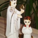 First Holy Communion Ceramic Pope and Girl Religious Figurine from the 1950s - Made in Japan!