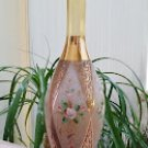 Vintage Czechoslovakian Bohemian Glass Vase with Frosted Glass, Gilt Filigree accents 3D Flowers!