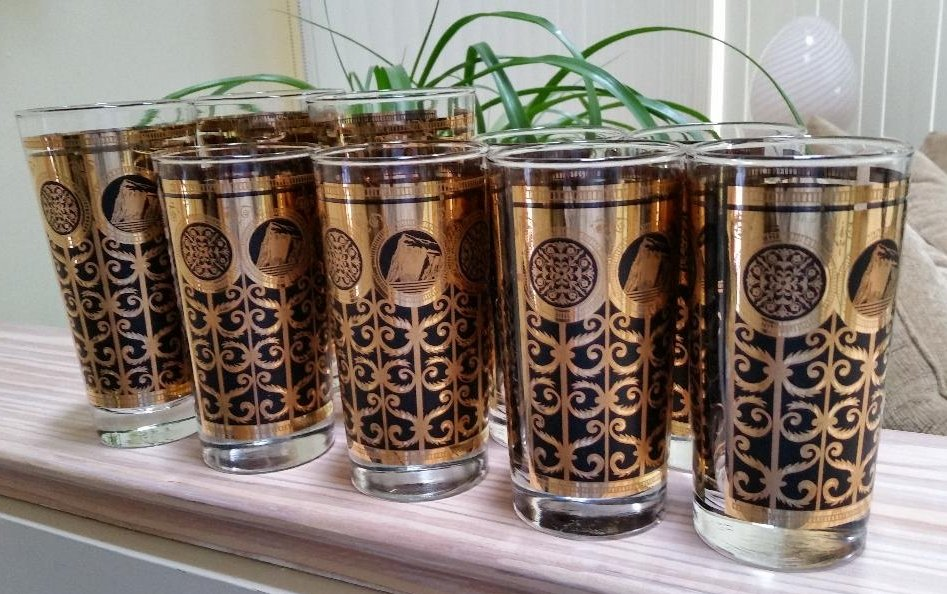 Libbey MCM Prudential Rock of Gibraltar Mid-Century 1965 Black and Gold Glasses - Set of 9!