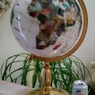 White Howlite Semi-Meridian Gemstone Globe #465248 with Gold Stand - larger than a basketball!!