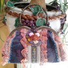Tapestry Vintage Look Estilo Collection Floral Handbag Purse Clutch - Lace Ruffles Galore!