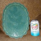 LYNN JAMES CERAMIC POTTERY Leaf Embossed Speckled Ruffle Edge Oval Tray #H590-HANDMADE-FINE QUALITY!