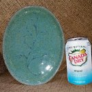 LYNN JAMES CERAMIC POTTERY Leaf Embossed Speckled Oval Tray #H694-HANDMADE-FINE QUALITY!
