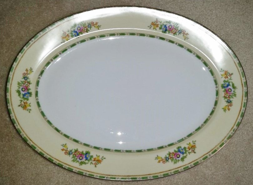 Vintage Meito China Grafton Pattern Oval Serving Platter - 16 inch - SO BRIGHT & PRETTY!