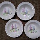 Vintage Edwin M. Knowles China Co. Thumbprint Gold Rim Floral Dessert/Fruit Bowls - 1941 - Lot of 4!