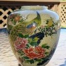 "Satsuma Ginger Jar Vase Hand Painted Peacocks design - 5-1/2"" H - Made in Japan!"