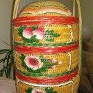 Vintage Chinese Wedding Basket Painted Oriental Stacking Three Tier Basket!