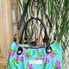 Betsey Johnson Aqua Blue Turquoise Violet Rose Satchel Bag Purse!
