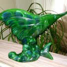 "Royal Haeger Swordfish Marlin Mid Century Planter Vase 9""x13"" 1950-54 Green Blue Glaze -MADE IN USA!"