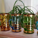 Vintage Hand Blown Multi Color Gold Band Handled Irish Coffee Style Glasses Mugs - Set of 5 - RARE!