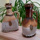 UNIQUE Abstract CRUDE Stoneware Art Pottery Mismatched Cruet Decanter Set!