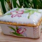 Vintage 1950's Floral Hand Painted Lidded Trinket Box - Made in Japan!