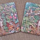 Pimpernel Leopard Toucan Jungle Theme Cork Backed Footed Hot Plate Trivet - Set of 2 - England!