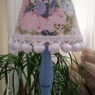 Blue Mother Goose Nursery Rhyme Lamp with Fabric Shade, Pom Poms & Bows - JUST DARLING!