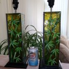 Stained Glass Asian Bamboo Themed Art Glass Green Leaves Tropical Table Lamps - BEAUTIFUL Set!