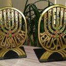 Jerusalem Israel Brutalist Metal Brass Bookends, Colorful Enamel Menorah, Modernist Brass Judaica