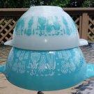 Vintage Pyrex Butterprint Opal Ware Turquoise/White Amish Print Cinderella Nesting Bowls - Set of 2!