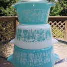 Vintage Pyrex Butterprint Opal Ware Turquoise/White Amish Print Nesting Casserole Dishes - Set of 3!