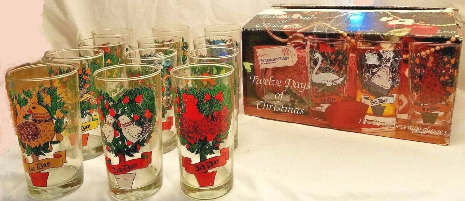 Twelve Days of Christmas Glassware Set by Indiana Glass 16 oz. Made in the USA - New in Box!